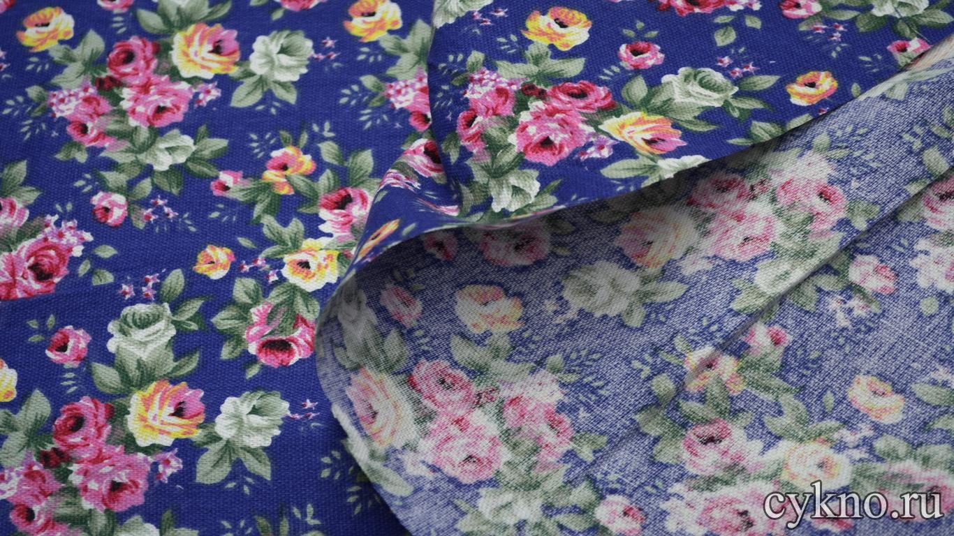 Лен костюмный розы на синем