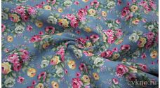 Лен костюмный розы на грязно-голубом