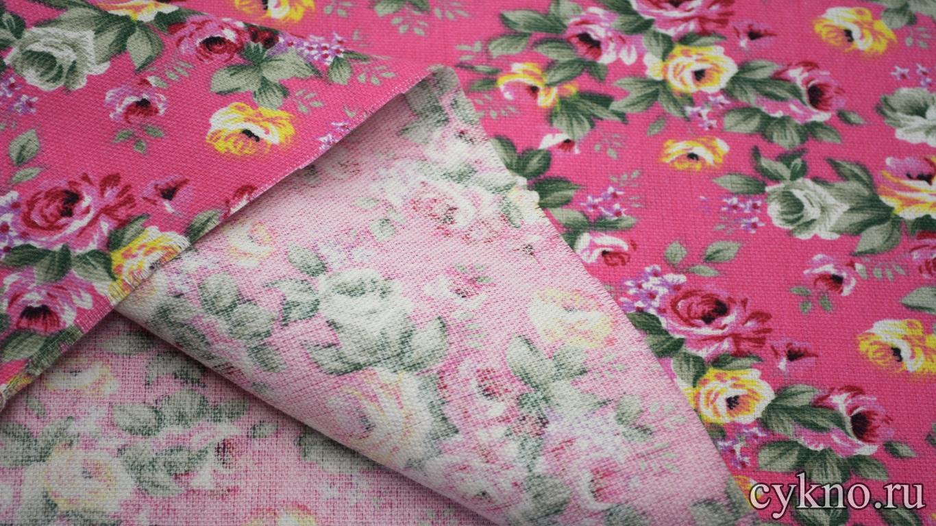 Лен костюмный розы на розовом